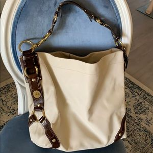 NEW coach leather bag in ivory/brown.
